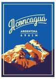 阿空加瓜在安地斯,阿根廷室外冒险海报 高山例证 向量例证