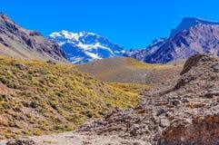 阿空加瓜,在Mendoza,阿根廷附近的安地斯 免版税图库摄影