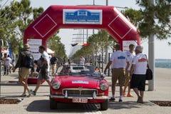 阿米卡尔集会的游览的终点线 一次经典汽车集会,在T 免版税图库摄影