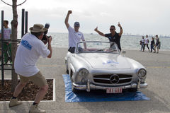 阿米卡尔集会的游览的终点线 一次经典汽车集会,在T 库存图片