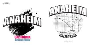 阿纳海姆,加利福尼亚,两件商标艺术品 图库摄影