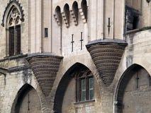 阿维尼翁des详细资料法国palais papes 免版税库存图片