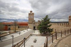 阿维拉中世纪堡垒墙壁,西班牙 免版税库存图片
