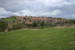 阿维拉中世纪堡垒墙壁,西班牙 免版税图库摄影