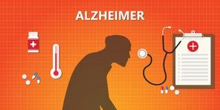 阿耳茨海默氏老人例证以医学和医疗健康 向量例证