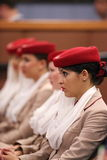 阿联酋国际航空比利・简・金全国网球的空服员集中在美国公开赛期间2013年 库存图片