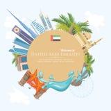 阿联酋的传染媒介背景 圈子形状 与现代大厦的阿拉伯联合酋长国轻的样式的飞行物和清真寺 免版税库存照片