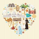 阿联酋的传染媒介背景 重点查出的形状蕃茄白色 与现代大厦的阿拉伯联合酋长国轻的样式的飞行物和清真寺 库存图片