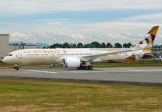 阿联酋联合航空波音787-9 dreamliner 免版税库存照片