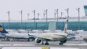 阿联酋联合航空飞机着陆在慕尼黑机场MUC 影视素材
