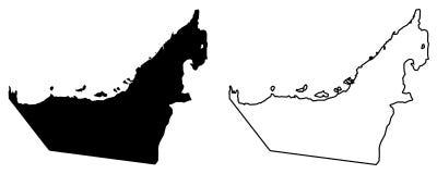 阿联酋阿拉伯联合酋长国的仅简单的锋利的角落地图v 皇族释放例证