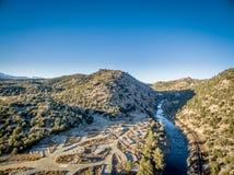 阿肯色河鸟瞰图 库存照片