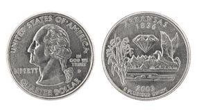 阿肯色美元季度 免版税库存图片