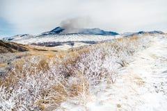 阿苏山在冬天 图库摄影