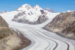 阿莱奇冰川在瑞士阿尔卑斯 免版税库存图片