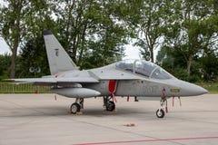 阿莱尼亚Aermacchi M-346 T-346A大师教练员喷气机 图库摄影