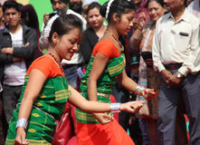 阿萨姆邦,印度民间舞  免版税库存图片