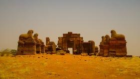 阿蒙寺庙Naqa Meroe,古老Kush苏丹废墟  库存照片