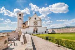 阿西西圣法兰西斯大教堂在阿西西,翁布里亚,意大利 图库摄影
