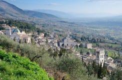 阿西西看法从La Rocca的 库存照片