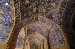 阿訇清真寺的内部,伊斯法罕 伊朗 免版税库存图片