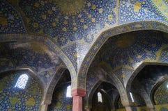 阿訇清真寺美好的细节在伊斯法罕,伊朗 免版税图库摄影