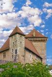 阿讷西城堡的一个高塔的细节  免版税库存照片
