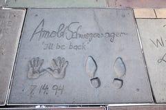 阿诺德・好莱坞版本记录schwarzenegger 库存图片