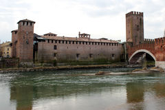 阿迪杰castelvecchio意大利河维罗纳 库存照片