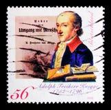 阿道夫男爵冯Knigge 1752-1796,作家, 250th生日周年serie画象,大约2002年 免版税库存图片