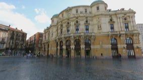 阿里亚加剧院美好的建筑学在毕尔巴鄂,观光在西班牙 股票视频