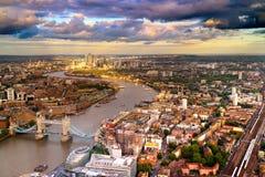阿里埃勒观点的伦敦的东边 免版税库存图片