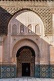 阿里本优素福Madrassa内部在马拉喀什,摩洛哥 免版税库存照片