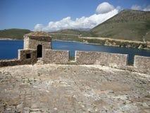 阿里・帕夏・塔帕雷奈堡垒屋顶阳台,巴勒莫村庄,南阿尔巴尼亚 免版税图库摄影