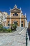 阿雅克修大教堂在可西嘉岛在夏天 免版税库存照片