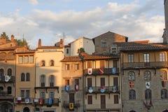 阿雷佐大厦意大利中世纪托斯卡纳 库存照片