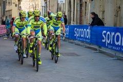 阿雷佐,意大利- 2015年3月13日:专业骑自行车者 免版税库存图片