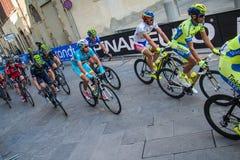 阿雷佐,意大利- 2015年3月13日:专业骑自行车者 免版税库存照片