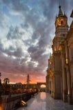 阿雷基帕,秘鲁大教堂,黄昏的 库存照片