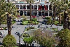 阿雷基帕Plaza de阿玛斯 免版税库存图片
