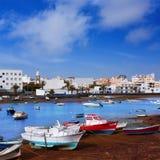 阿雷西费在Lanzarote Charco de圣・ Gines 库存图片