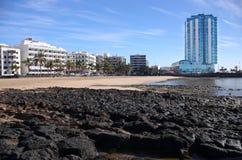 阿雷西费海滩,兰萨罗特岛 免版税库存图片