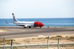 阿雷西费,西班牙- 2016年12月2日:挪威语AirARRECIFE波音737-800  免版税库存图片