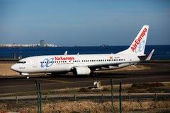 阿雷西费,西班牙- 2016年12月2日:AirEuropa波音737-800在L的 库存图片