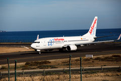 阿雷西费,西班牙- 2016年12月2日:AirEuropa波音737-800在L的 免版税图库摄影