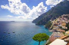 阿马尔菲海岸的,意大利波西塔诺 免版税库存照片