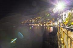 阿马飞夜光,从costiera amalfitana 免版税库存图片