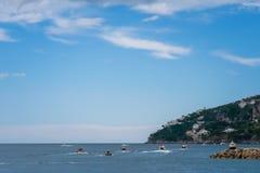 阿马飞小游艇船坞在萨莱诺省的科波拉口岸美丽的景色,褶皱藻属,阿马尔菲海岸,Costiera Amalfitana的区域 库存图片