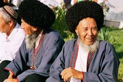 阿什伽巴特,土库曼斯坦- 8月26 画象两老unident 图库摄影