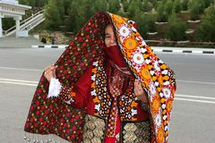 阿什伽巴特,土库曼斯坦- 3月10 年轻unidenti画象  库存图片